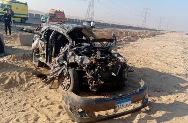 مصرع شخص وإصابة 3 آخرين في حادث بطريق رأس غارب